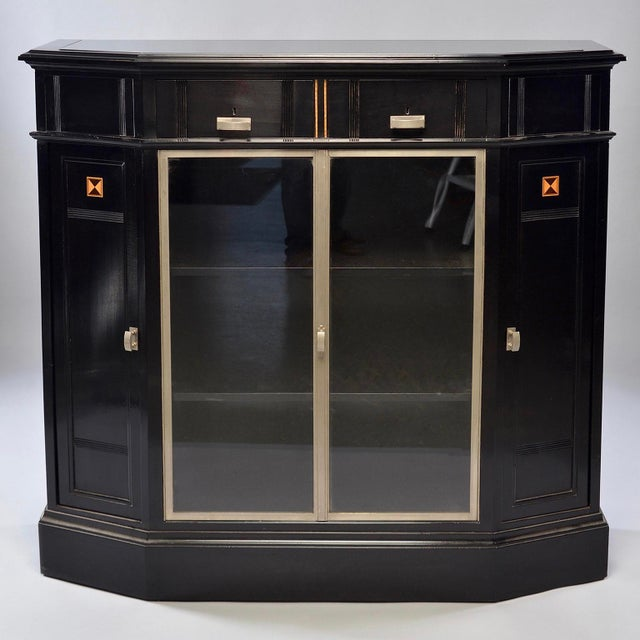 Art Deco Ebonized Cabinet With Aluminum Trim and Glass Doors For Sale - Image 11 of 11