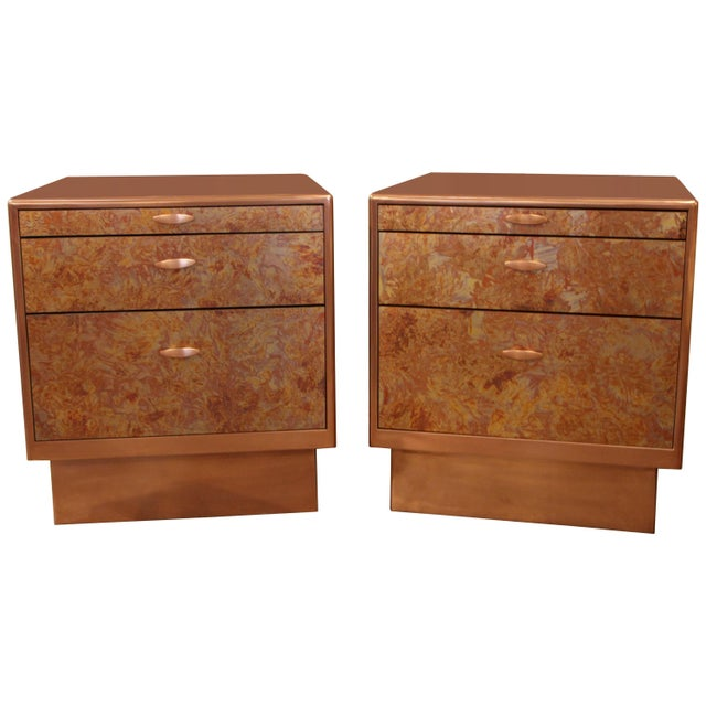 Patinated Copper Sheet Clad Nightstands or Chests - a Pair For Sale - Image 13 of 13