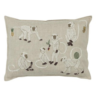 2010s French Ecru Linen Monkey Business Pillow For Sale
