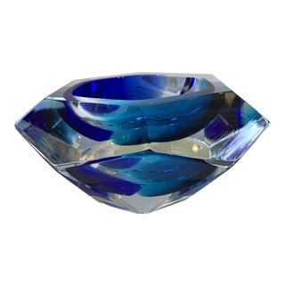 21st Century Blue Murano Faceted Crystal Bowl by Alessandro Mandruzzato For Sale