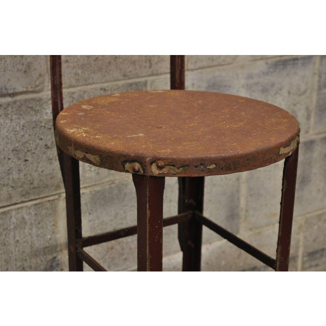 Red Antique Steel Metal Industrial Drafting Architect Work Stool For Sale - Image 8 of 12