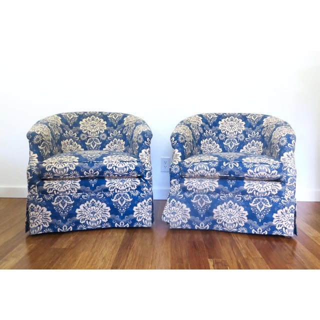 Vintage Pair Barrel Chairs & Ottoman - S/3 - Image 3 of 11