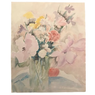 1980s Floral Still Life Watercolor For Sale