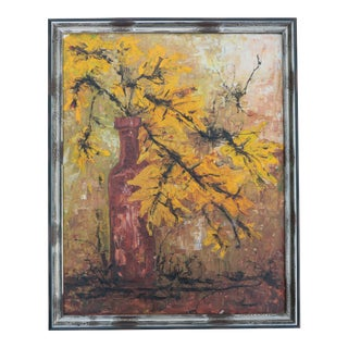 Mid-Century Autumn Leaves Still Life Painting For Sale