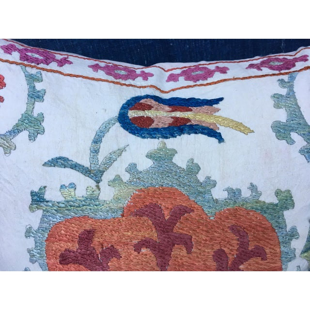 Embroidered Suzani Pillow Cover For Sale - Image 4 of 6