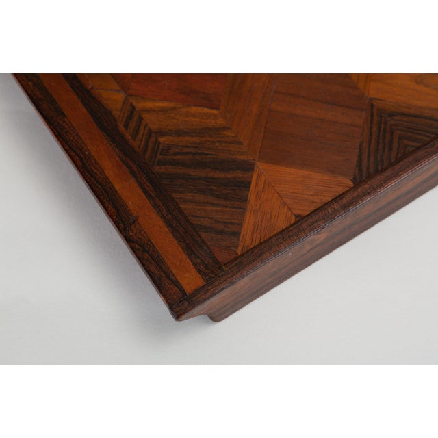 Brown Trompe L'oeil Rosewood Tray by Don Shoemaker for Señal For Sale - Image 8 of 10
