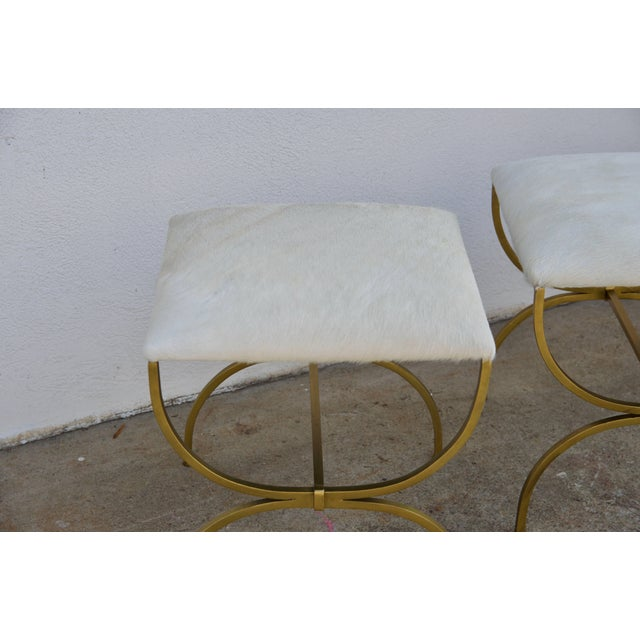 Gilbert Poillerat Pair of Gilt Wrought Iron and Hide Stools by Design Frères For Sale - Image 4 of 7