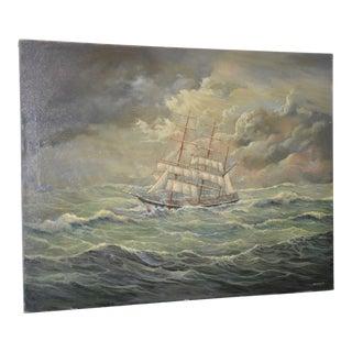 "Marcus Paulsen ""Stormy Seas"" Original Oil Painting 20th C."