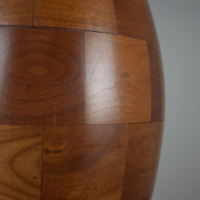 Staved Walnut Block Ovoid Lamp For Sale - Image 4 of 4