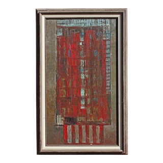 Abstract Bauhaus Style Building Oil Painting For Sale