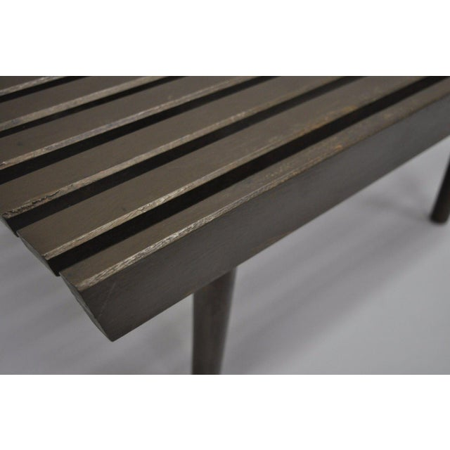 1960s Vintage Mid Century Modern Solid Wood Slat Bench For Sale - Image 5 of 10