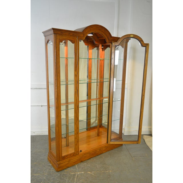 Jasper Traditional Oak Beveled Glass Lighted Curio Display Cabinet - Image 5 of 9