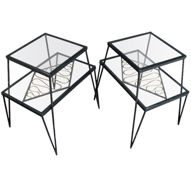 Vintage Pair of Iron and Gilt Ribbon Tables For Sale