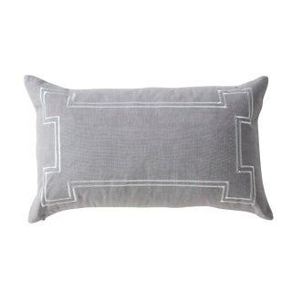 Aria Grey Linen Lumbar Pillow With Metallic Embroidery
