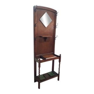 C.1920 Oak Halltree Barley Twist Leg. Drip Trays. Lift Top Drawer For Sale