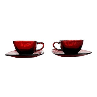 Anchor Hocking Ruby Red Glass Cup & Saucer Set Pair - 4 Pieces For Sale