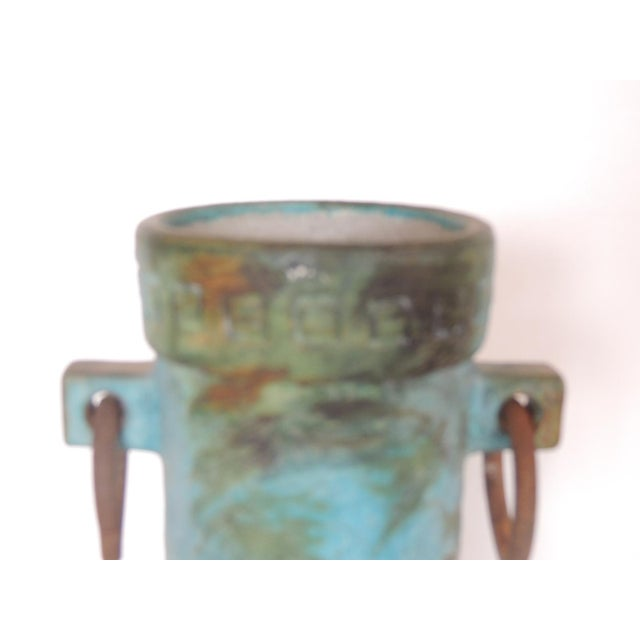Mid-Century Modern Aqua and Green Hand Painted Pottery Vase With Iron Handles For Sale - Image 4 of 8