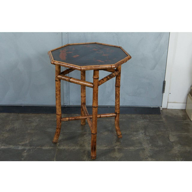 Octagonal Victorian Bamboo and Lacquer Side Table For Sale - Image 4 of 7