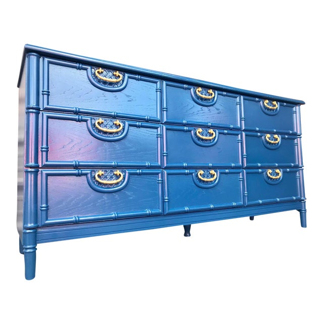 Faux Bamboo Newly Lacquered Blue Dresser For Sale