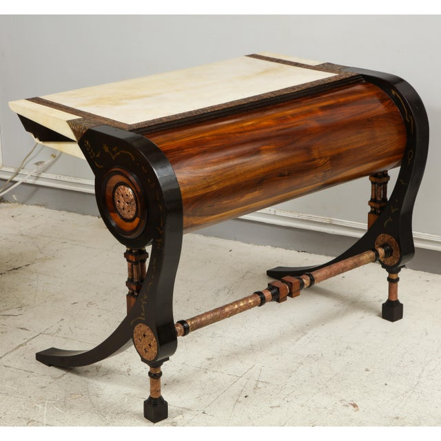 Carlo Bugatti-Style Writing Desk with Chair For Sale - Image 4 of 12