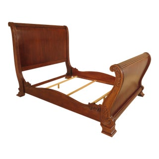 Cherry Queen Size High Back Sleigh Bed For Sale