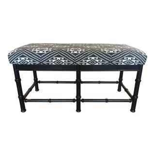 Mid-Century Faux Bamboo Bench W Indonesian Jacquard Textile For Sale