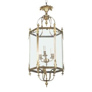 Brass Hexagonal 3-Light Lantern with Putti For Sale