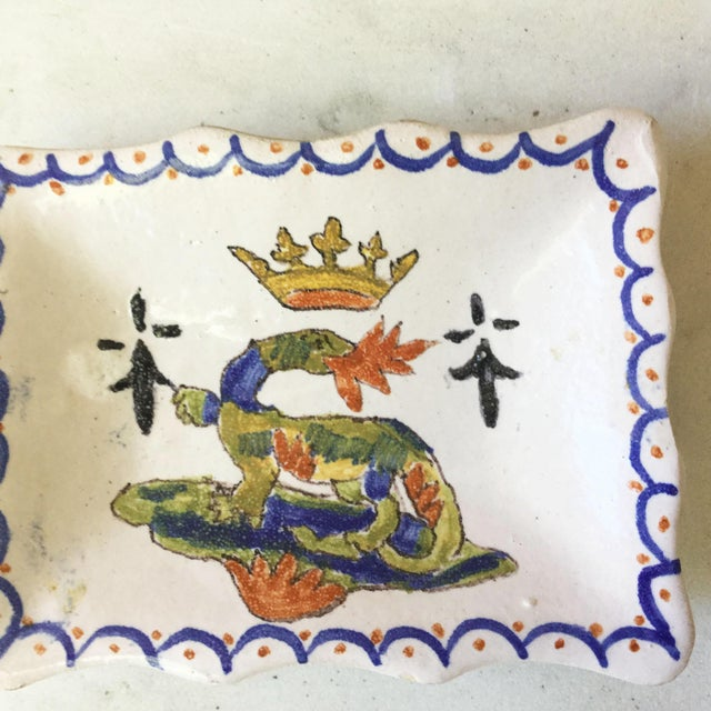 """1900s Petite French Faience Salamander Dish Signed """"Blois"""" For Sale - Image 4 of 6"""