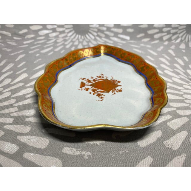 Shabby Chic 19th Century Red Orange & Gold Handmade Hand-Painted Ceramic Pottery Catchall Dish For Sale - Image 3 of 10