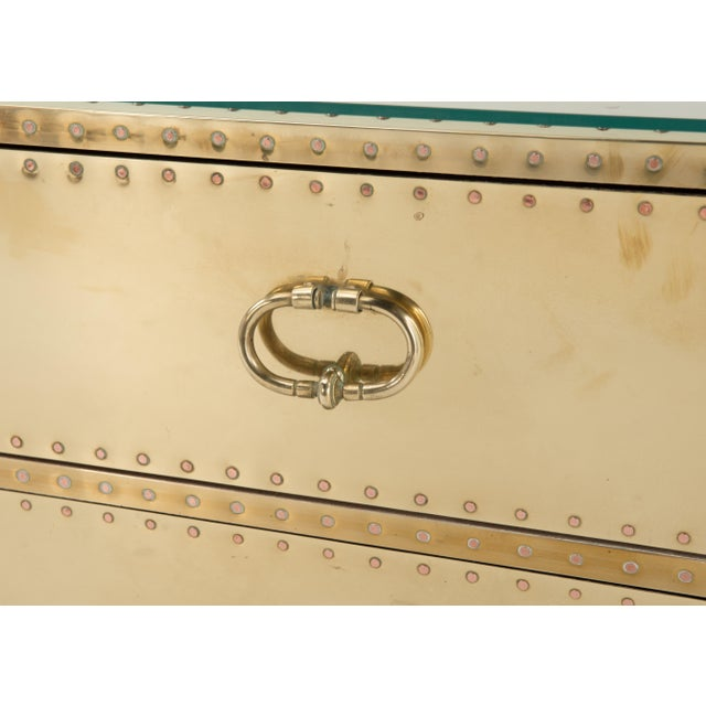 1970s Spanish Sarreid Brass Clad Two-Drawer Chest For Sale - Image 11 of 13