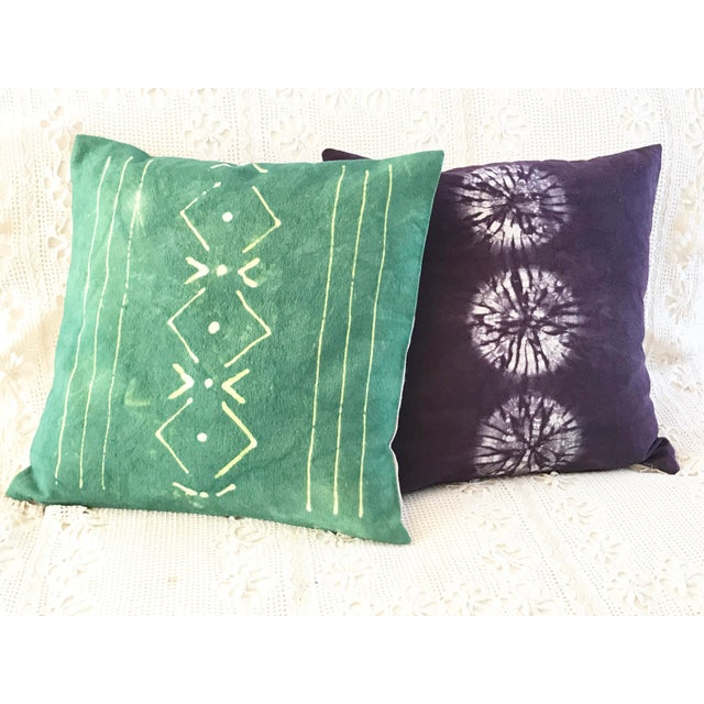 Aubergine Nui Shibori Circle Pillow Cover For Sale In Los Angeles - Image 6 of 6