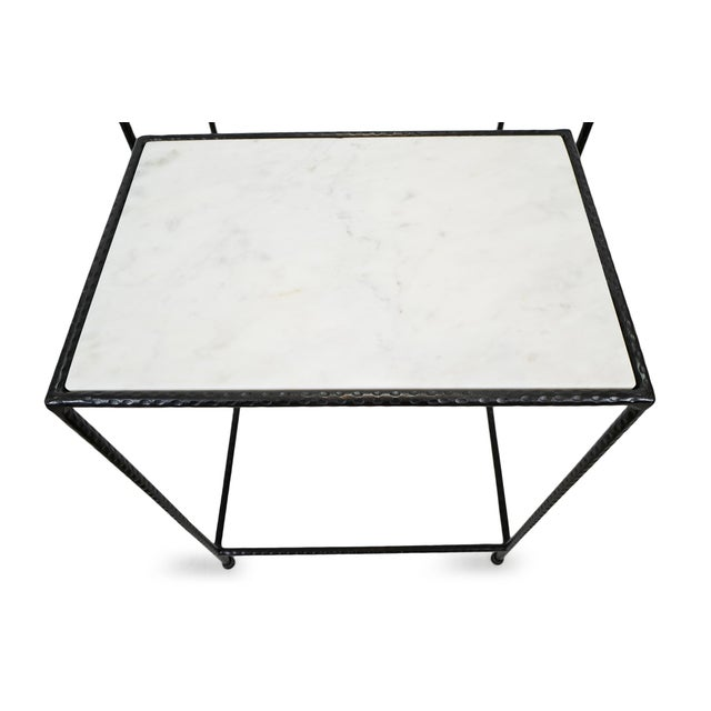 White Marble & Iron Nesting Tables - a Pair For Sale In Los Angeles - Image 6 of 6
