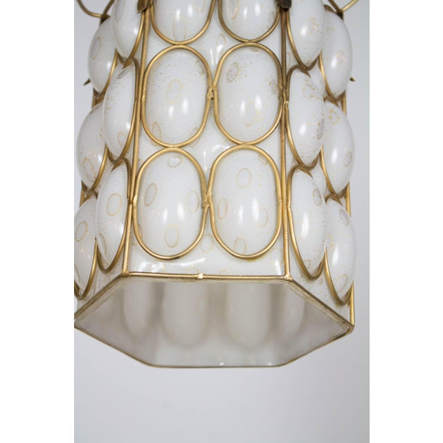 Hollywood Regency 1970s Hollywood Regency White and Gold Caged Glass Pendant For Sale - Image 3 of 4