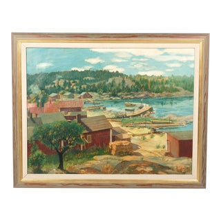 Panoramic Coastal Landscape by Hundt For Sale