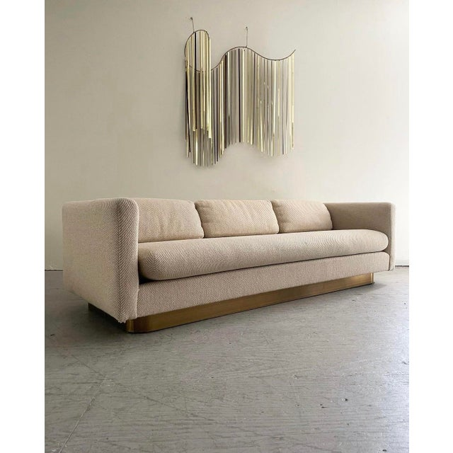 """1970s Mid Century Modern Brass Floating """"Tuxedo"""" Sofa Designed by Milo Baughman For Sale - Image 5 of 5"""