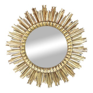 Mid 20th Century Carved Wooden Sunburst Mirror For Sale