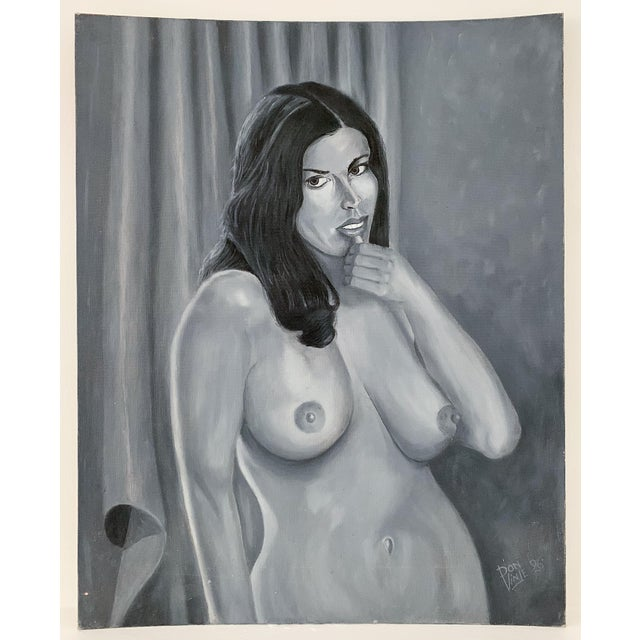 1990s Vintage Nude Woman Oil on Canvas Painting For Sale - Image 5 of 5