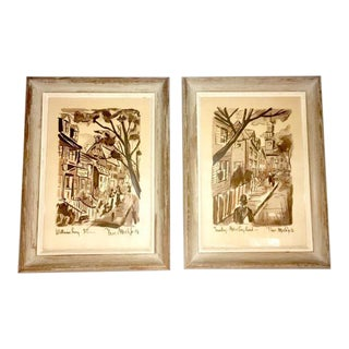 Mid Century Watercolors Signed Thomas Meek - a Pair For Sale
