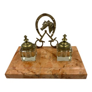 Early 20th Century English Marble Desk Set With Bronze Horseshoe and 2 Crystal Inkwells - Set of 3 For Sale