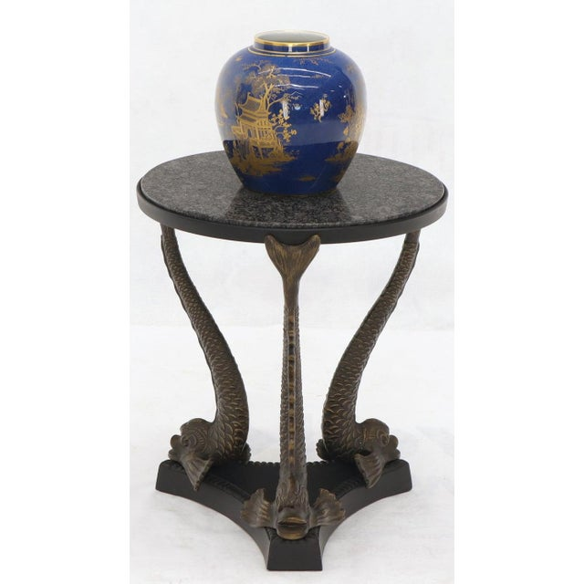 Late 20th Century Bronze Triple Dolphins Base Granite Top Round Side End Table Pedestal For Sale - Image 5 of 12