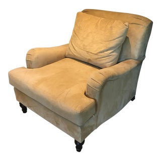 Transitional Pottery Barn Carlisle Beige Suede Armchair