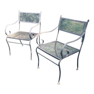 Russell Woodard Wrought Iron Patio Chairs - a Pair For Sale