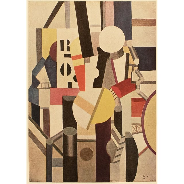 A rare striking First Edition period offset lithograph after painting Composition (1920) by Fernand Léger. Comes from a...