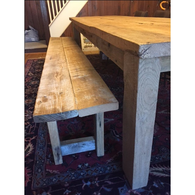 Rustic White Oak Dining Table and Bench - Image 5 of 6