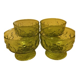Vintage Mid-Century Green Dessert Cups - Set of 4
