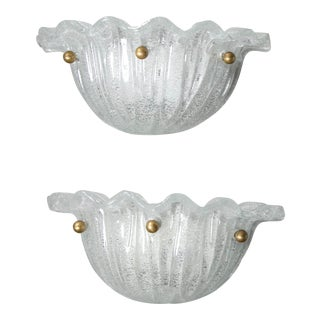 Murano Glass Shell Sconces - a Pair For Sale