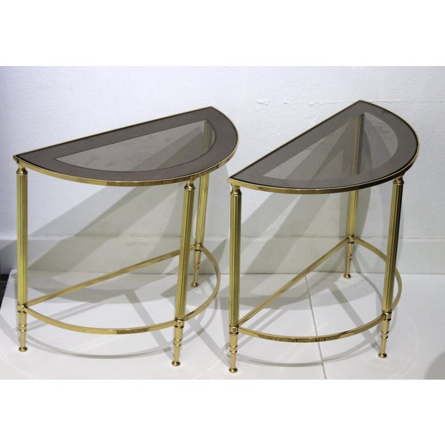Mid-Century Modern Demi-Lune Drinks or Side Tables Brass and Smoked Glass - a Pair - from a Palm Beach estate