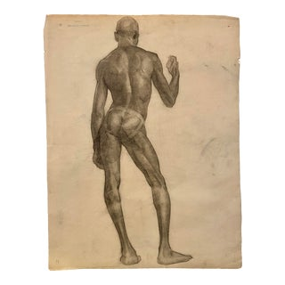 1930s St. Louis Academic Figural Nude Charcoal Drawing of African-American Model For Sale