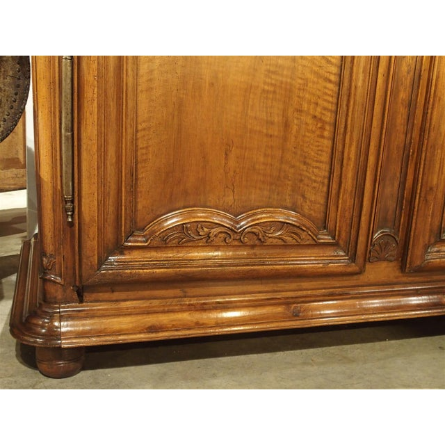 """Brown Early 1700's French Walnut Wood Chateau Armoire, """"The Order of Saint Louis"""" For Sale - Image 8 of 11"""