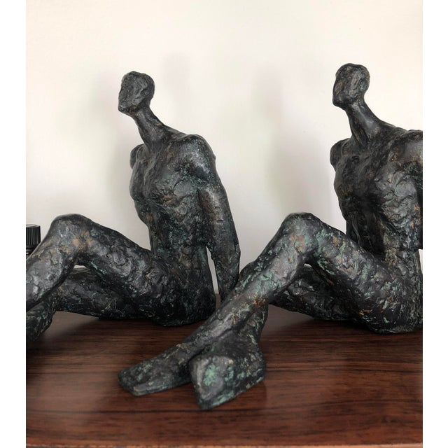 Metal Mid 20th Century Modernist Brutalist Figurative Bronze Sculptures - a Pair For Sale - Image 7 of 7